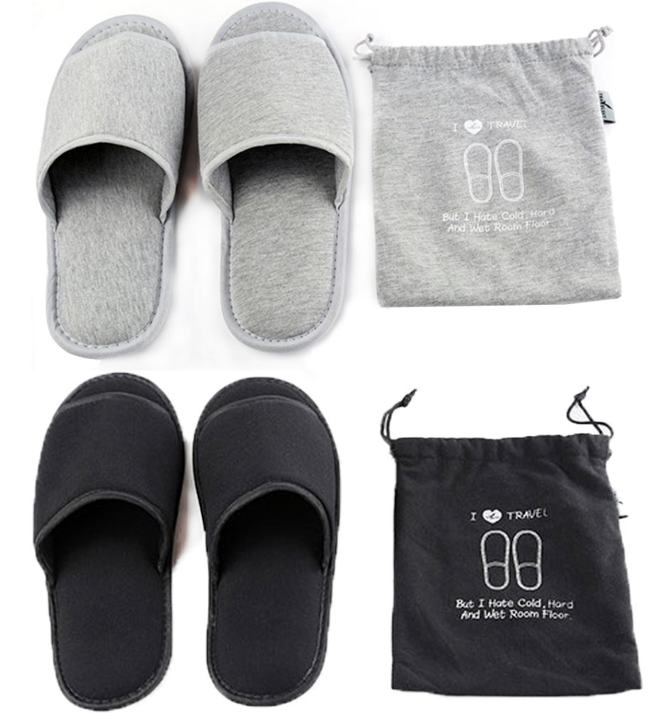 Portable Travel Slippers Open Toe Sandals Cotton Spa Hotel Slippers Non-disposable Guest Room Indoor House Slipper Business Trip Flight Slippers Anti-skid Foldable Camping Slippers Shoes Footwear Qchomee