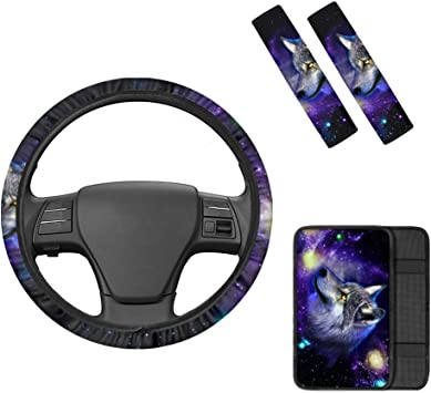 TOADDMOS Galaxy Wolf Purple Car Accessories Set,Includes Universal 15 Non-Slip Steering Wheel Cover with 2Pcs Seat Belt,Fit for Vehicle