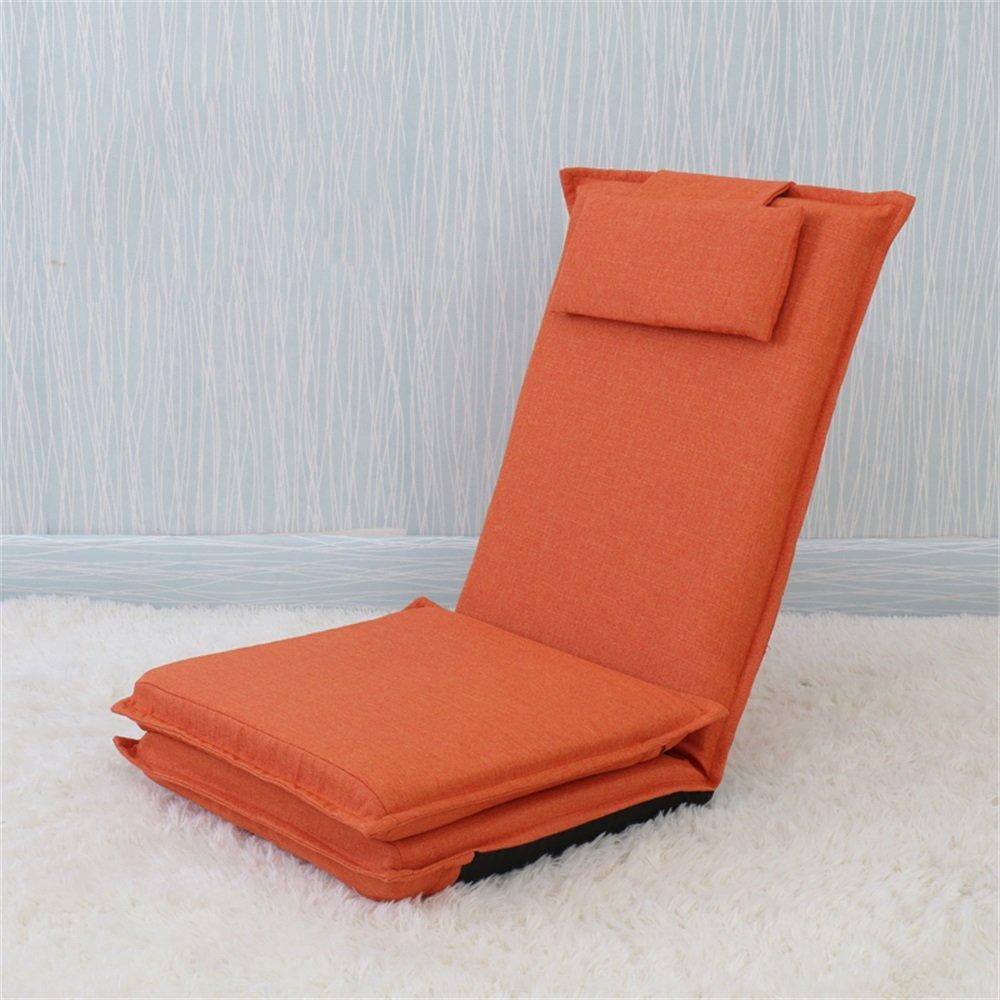 ベンチ 床の椅子のベッドコンピュータの椅子の背もたれの怠惰な単一の小さなソファ折り畳み式の寮の窓のスポンジ床のソファー (A++) (色 : オレンジ) B07DFG3BXZ オレンジ オレンジ