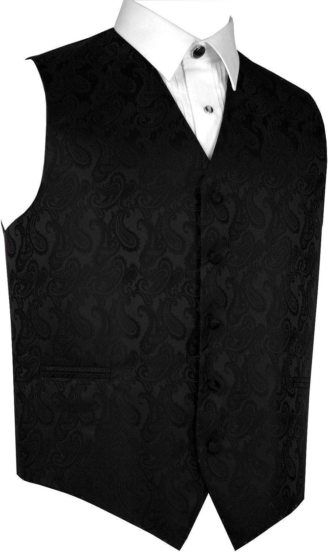 Italian Design Mens Formal Tuxedo Vest in Black Paisley