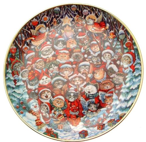 Franklin Mint Santa Claws Bill Ben cat plate CP1991 ()