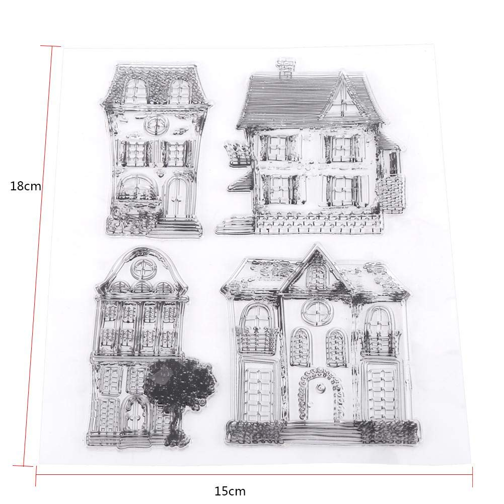 Akozon Scrapbook Clear Transparent Stamps House Photo Cards Rubber Stamp