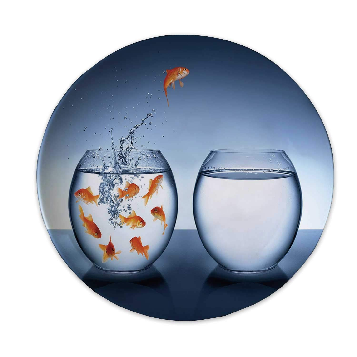 Aquarium Ceramic Decorative Plate,Little Brave Goldfish Jumping One Fishbowl to Another Courage Improvement Decorative for Home Decorative,8 inch