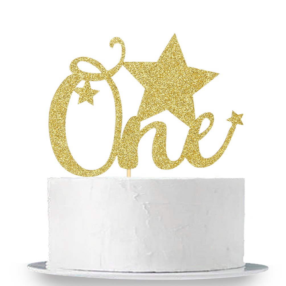 Babys First Birthday Party Decorations 1st Birthday Cake Topper INNORU Gold Glitter One Birthday Cake Topper Baby Shower Photo Props