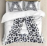 4 Piece Bedding Set Twin Size, Realistic Soccer Balls in form of Capital A Sports Play League Competition Theme,Duvet Cover Set Quilt Bedspread for Childrens/Kids/Teens/Adults