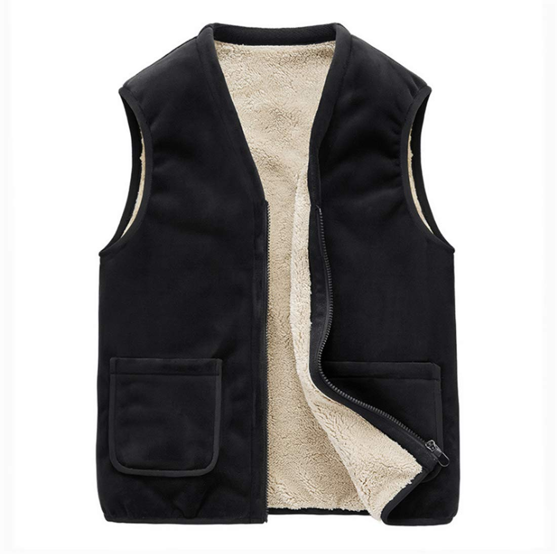 GL SUIT Mens Padded Gilet Lightweight Body Warmer Comfortable Vest Quick Drying Fleece Lined Winter Waistcoat for Outdoor Sport Running Walking Travelling Hiking