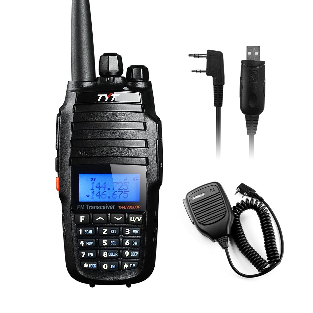 TYT TH-UV8000D Ultra-high Output Power 10W Amateur Handheld Transceiver, Dual Band Dual Display Dual Standby Two Way Radio+BF-S112 Mic+Program Cable-Lightwish