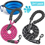 5 FT Strong Dog Leash, Horuhue 2 Pack Heavy Duty Pet Rope Leash Reflective Dog Leash with Comfortable Padded Handle and Light