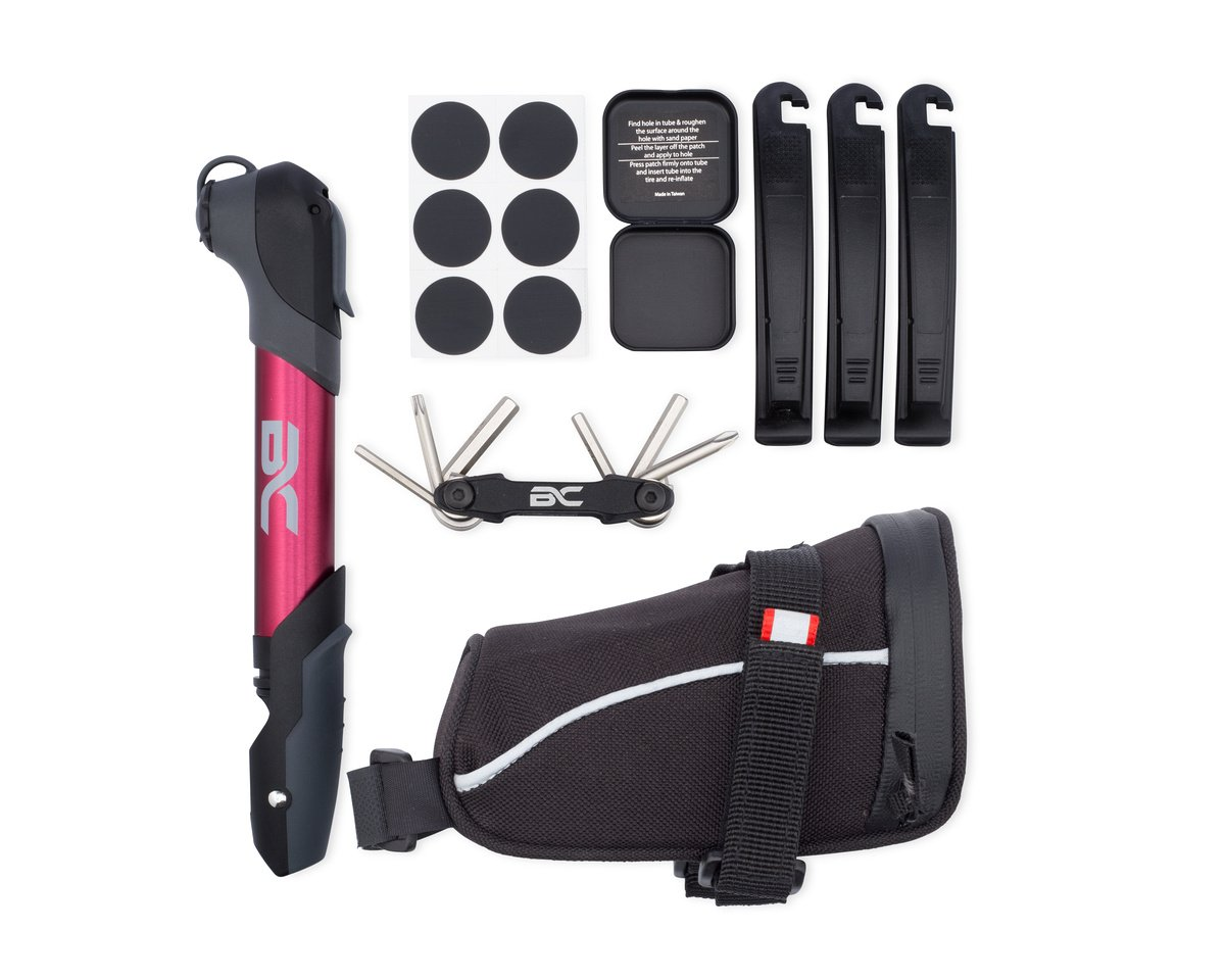 BC Bicycle Company Bike Repair Kit by Mini Pump - Multitool - Patch Kit -Tire Levers - Seat Bag - Complete Set for MTB Road Hybrid Red