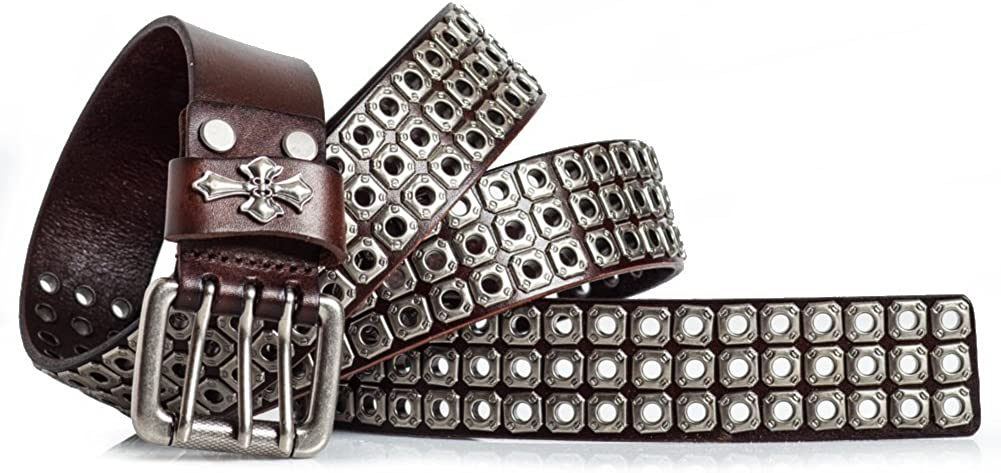 """New Mens Stitched Studed Jeans 1.5/"""" Solid Stylish Design Leather Belt"""