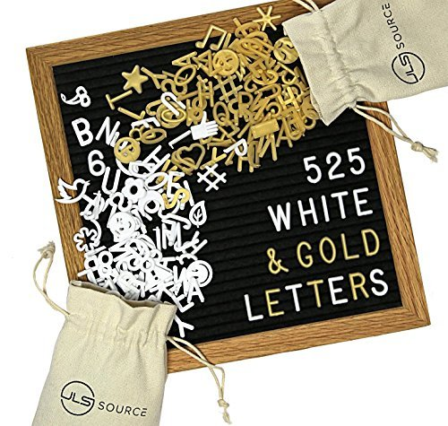 Black Felt Letter Board Set - 10x10 Inches | Natural Oak Wood Frame | 525 White/Gold Changeable Letters, Numbers, Emojis and Symbols | Wall Mount Bracket | BONUS Display Easel and 2 Canvas Bags (Easel Gold Frames)