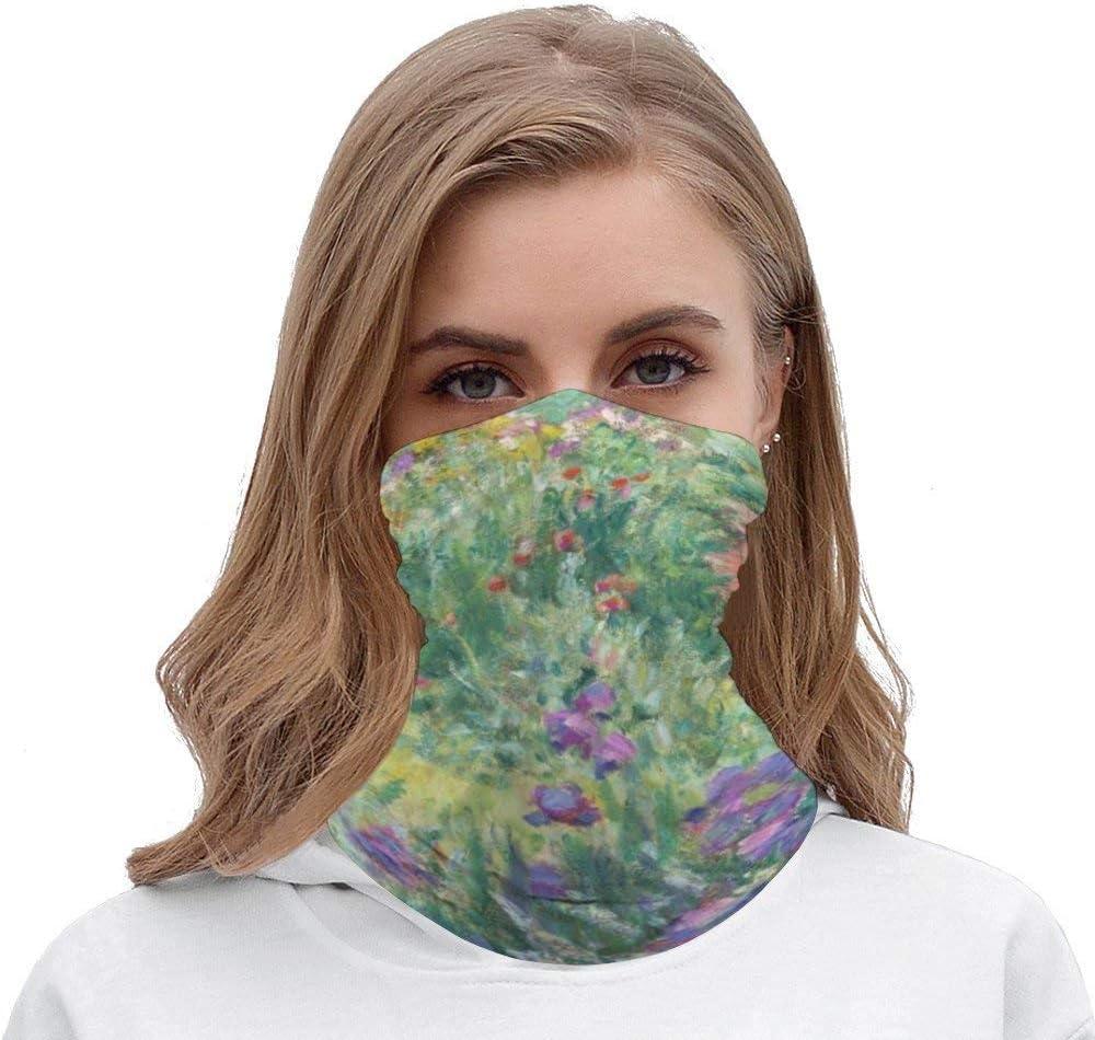 Garden in Giverny by Claude Monet Unisex Multifunctional Bandana Neck Gaiter Tube Headwear headkerchief, Outdoors Sports Motorcycle Face Mask Bandana Headband for Men Women Face Scarf