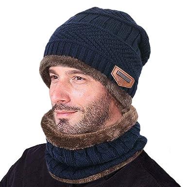 b87707f6a8ef Sysky Bonnet Tricot Homme Chaud Fourrure Chapeau d Hiver Ensemble écharpe  avec Doublure Polaire