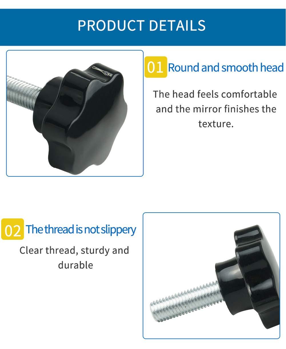 Luchang M12 M14 M16 2Pcs Thread Replacement Star Hand Knob Bakelite Hand Tighten Screw Tightening Screw Black Head Diameter 60mm 60mm,M14 2Pcs