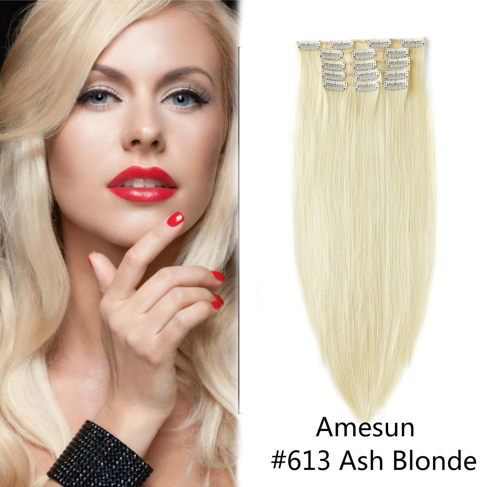 Amesun 22inch Full Head Clip in Extensions Double Weft Synthetic Hairpiece 7PCS 120g Per Pack (#4-MEDIUM BROWN) ZHUHAIR AIYUCHEN COMPANY CO. LTD