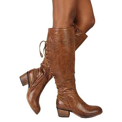 d94cc12c9c629 ZYUEER Bottes éQuitation Cuir Ankle Boots Femme Talon Compensé Bottines à  Lacets Chaussure Femmes Talon Sexy