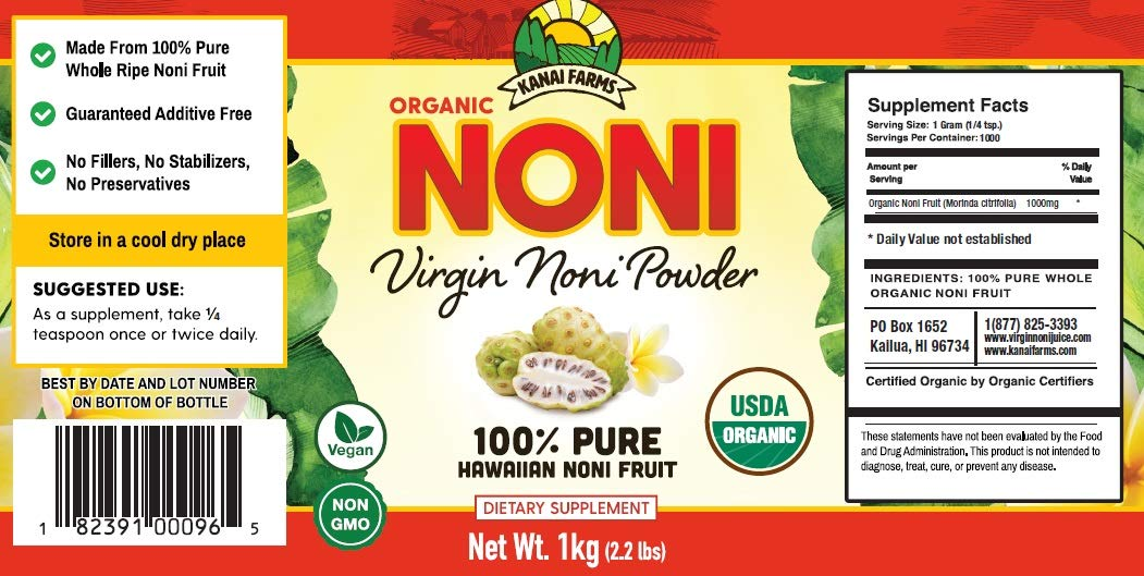 Virgin Noni Powder - 100% Pure Noni Powder 1 Kilo (2.2 lbs), Certified Organic
