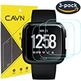CAVN 3 Pcs Fitbit Versa Screen Protector 9H Tempered Glass Screen Protector for Fitbit Versa Smart Watch [2.5D Round Edge] [9H Hardness] [Crystal Clear] [Anti-Scratch] [No-Bubble]