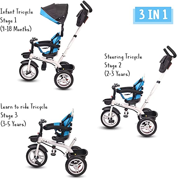Little Olive Roller Coaster - Stylish Baby Tricycle / Kids Trike / Bicycle / Ride On with Canopy and Push Bar for Kids / Baby | Suitable for Boys & Girls - (1 to 6 Years) (Blue and Black)