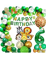 Jungle verjaardagsdecoratie, AcnA verjaardagsdecoratie voor jongens, kinderverjaardag decoratie, safari, Happy Birthday, decoratie, banner, jungle, ballonnen voor wild, één decoratie, verjaardag, herbruikbaar