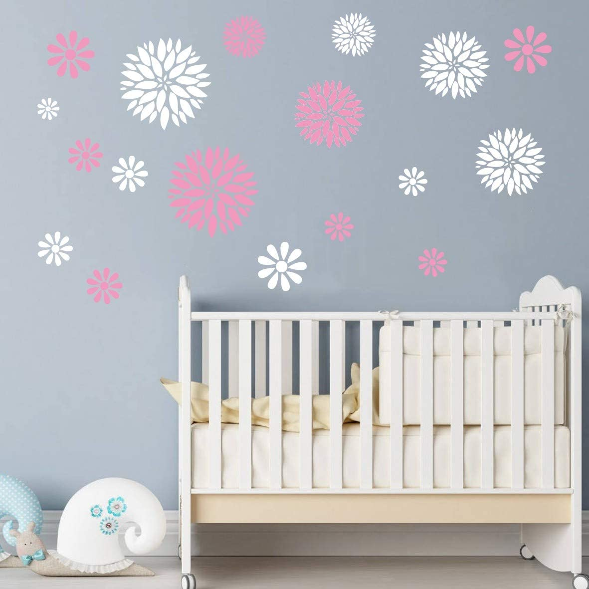 Art Home Decor Nursery Room Sticker Beauty Flowers Decoration Stickers for Girls Bedroom Removable Wall Sticker (White+Pink)