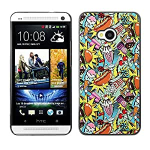 Planetar® ( Hamburger Fast Food Pop Art Hot Dog ) HTC One M7 Fundas Cover Cubre Hard Case Cover