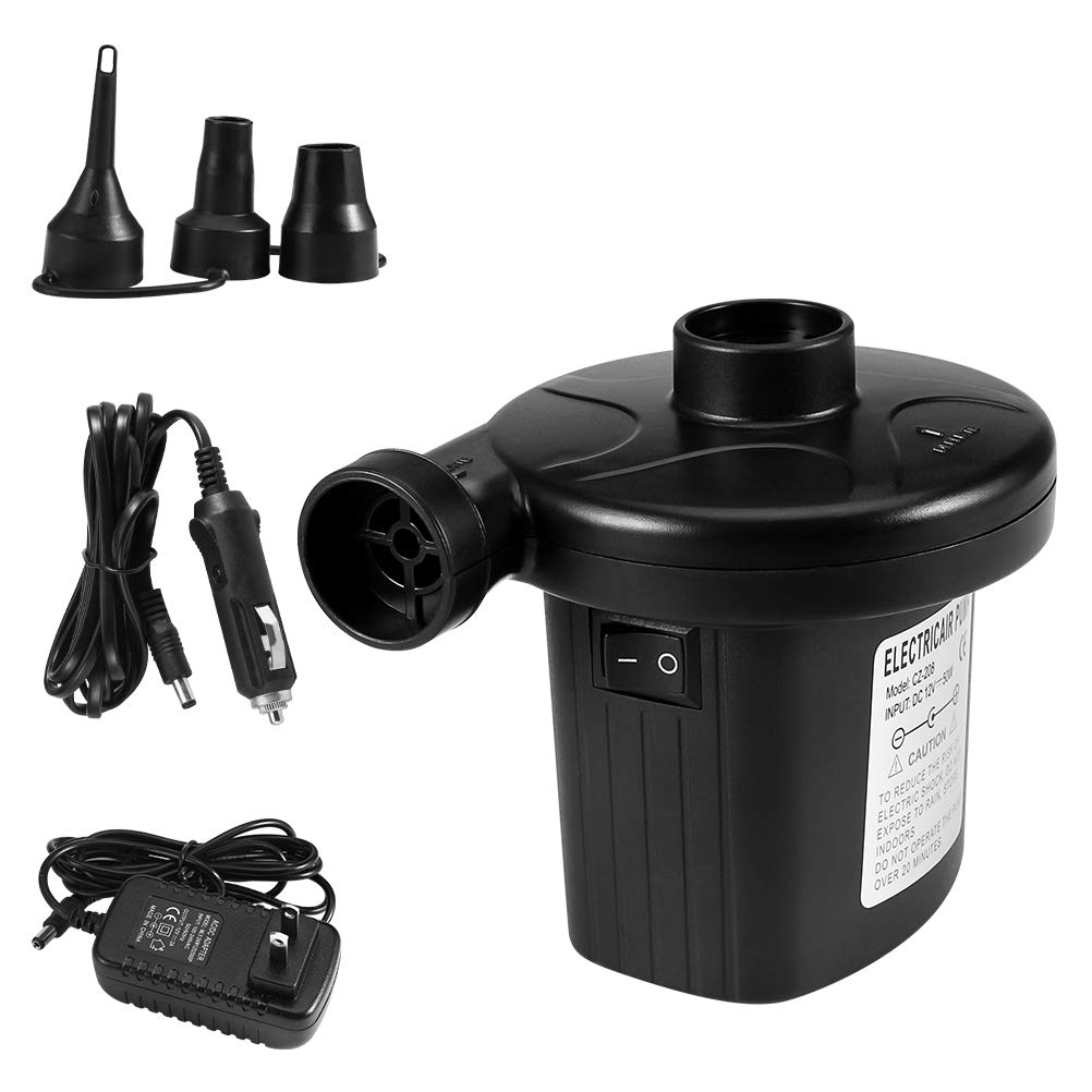 Agetp Electric Air Pump Quick-Fill Air Pump for Inflatables with 3 Nozzles Portable Air Bed Mattress Rafts Floats Boat Pool Toys 110V AC/12V DC 2 in 1 Inflator/Deflator Car Electric Pump