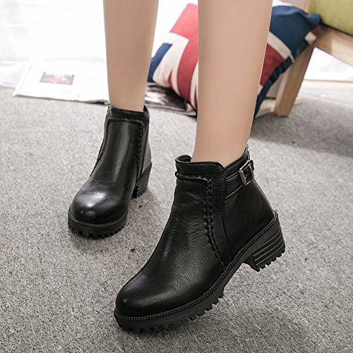 Black Student Thick High Overmal Shoes Martin Heeled Bare Boots 2018 Women's Boots Short Boots OqRwp