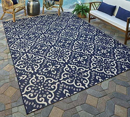 Gertmenian 21565 Nautical Tropical Carpet Outdoor Patio Rug, 5x7 Standard, Navy Floral Medallion (Rugs Door Out)
