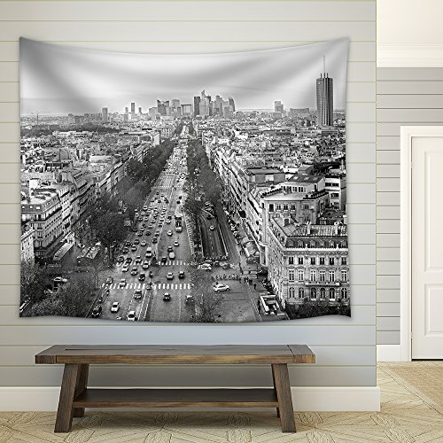 View of Paris from Arc De Triomphe France Fabric Wall Tapestry