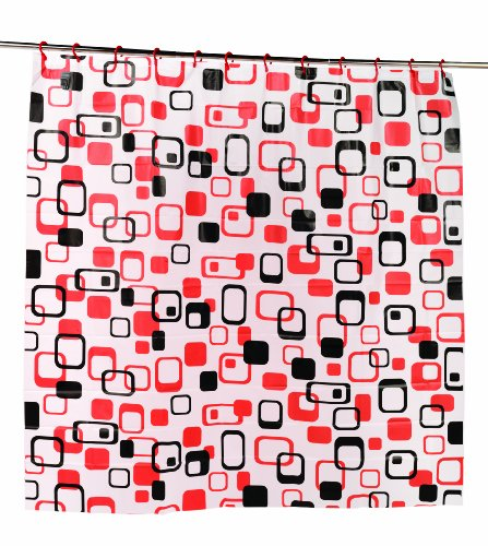 Carnation Home Fashions 3D Prism Look PEVA Shower Curtain with Built-In Shower Curtain Hooks, Elite, 70 by 72-Inch