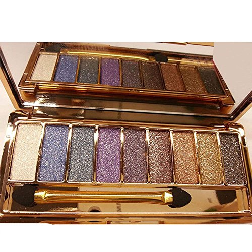 Glitter Eyeshadow, 9 Colors Pigmented Eyeshadow Palette Bright Eye Makeup Shimmer Eyeshadow Pallet -Xmas Gift for Mom,Couples,Girlfriend,Daughter,Women and Girls by QzoneFire