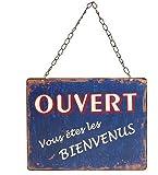 """Plaque """"Ouvert-Fermé"""" bleue sur chaînette"""