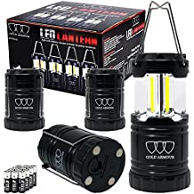 Gold Armour 4Pack Portable LED Camping Lantern (EMITS 350 LUMENS!) LED Lantern - Camping Equipment Gear Lights for Emergency, Hurricane, Power Outage, Great Gift Set