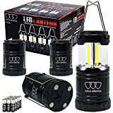 LED Camping Lantern - Brightest Camping Lantern (UPGRADED EMITS 500 LUMENS!) 4 Pack LED Lantern - Camping Equipment Gear Lights for Hiking, Emergencies, Hurricanes, Outages, Great Gift Set (Black Magnetic Base and Hook)