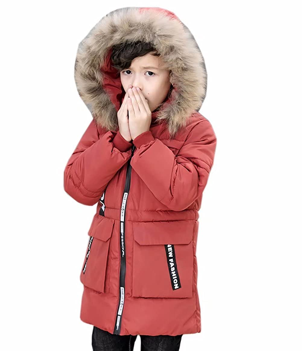 Kmety Kids Boys Fur Hooded Heavyweight Bubble Jacket Winter Warm Coat
