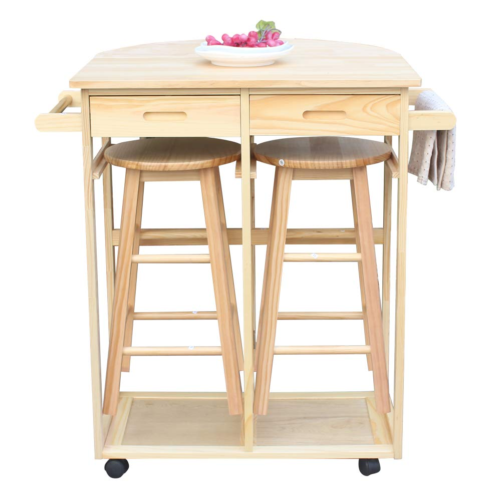 FCH 3 Piece Wooden Dining Set Modern Trolley Kitchen Island Cart Drop Leaf Table with 2 Round Bar Stools and 2 Drawers