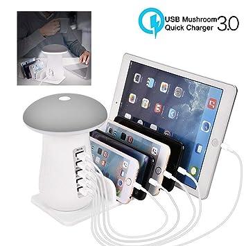 leegoal USB Cargador rápido estación con QC 3,0 Carga rápida, 5 Puerto Muelle de Carga con lámpara de Seta LED, Cargador Universal Stand Organizador ...