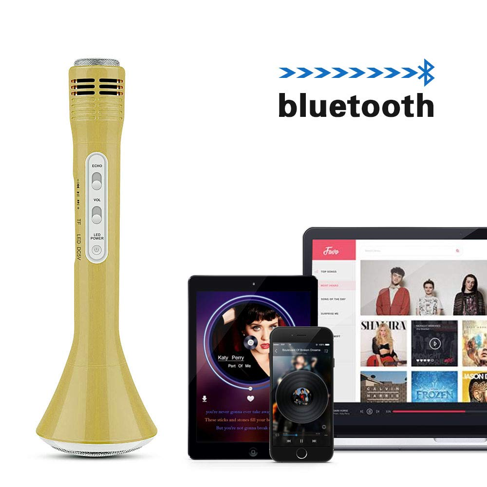 Fricon Birthday Gifts for Girls Age 3-12, Karaoke Machine for Girls Gifts for 3-12 Year Old Wireless Microphone System Bluetooth Microphone Karaoke Machine for Girls Age 3-12 Gold KMUSKM01 by Fricon (Image #5)