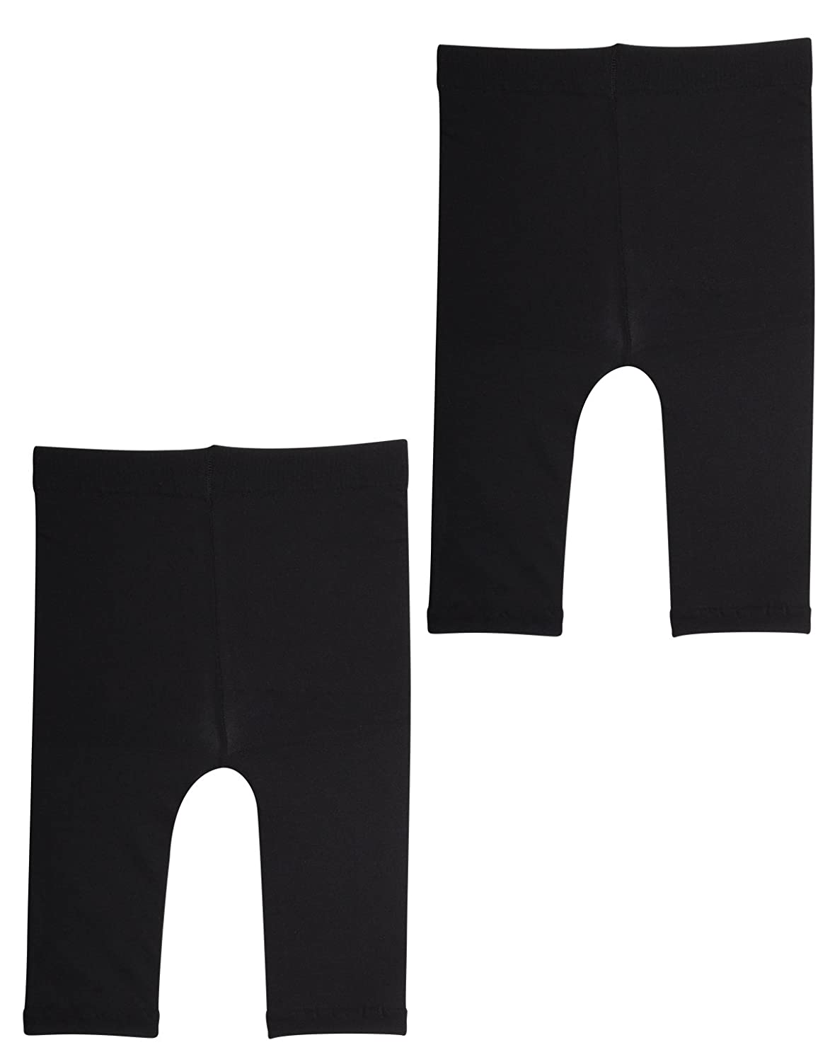CALZITALY 2 Pairs SEMI Opaque Cropped Leggins Italian Hosiery | Black,White 50 DEN Baby Footless Thights