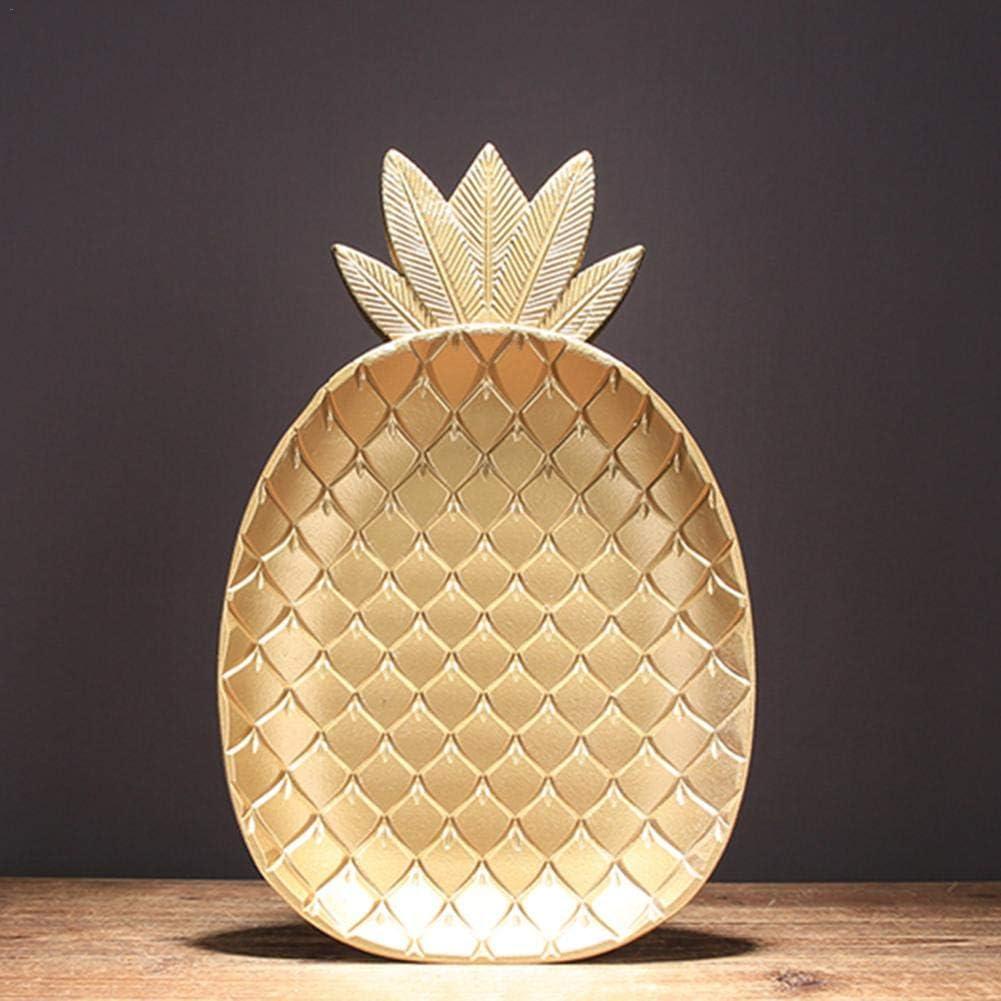 Aerries Vassoi in Legno per Alimenti Dorati Vassoio Stile Nordico Semplice con Ananas a Forma di Foglia Vassoio per Alimenti in Legno