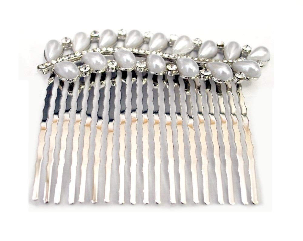 Women's Bohemian Ivory Color Simulated Pearl Flower Beaded Crystal Wedding Bridal Hair Comb Clear (Silver)