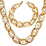 Iced Out Jewelry Cool Hip Hop Curb Chain Gold Tone With Rhinestones Bracelet Necklace Set