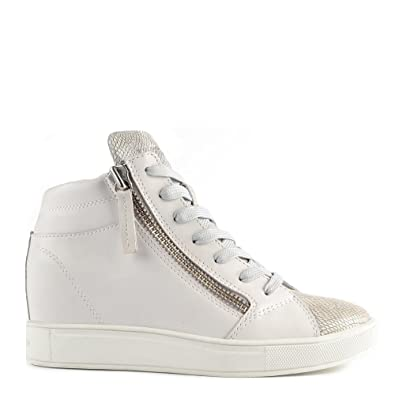 Crime London Java White and Grey Wedge Hi-Top Trainer 38EU 5UK White ... 922e5fe911f