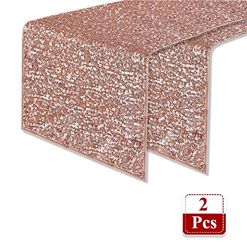 PONY DANCE Table Runner Sequin Fabric - Decoration Sparkling Table Runner Premium Quality for Party/Wedding/Birthday/Banquet Decor Atmosphere, 14
