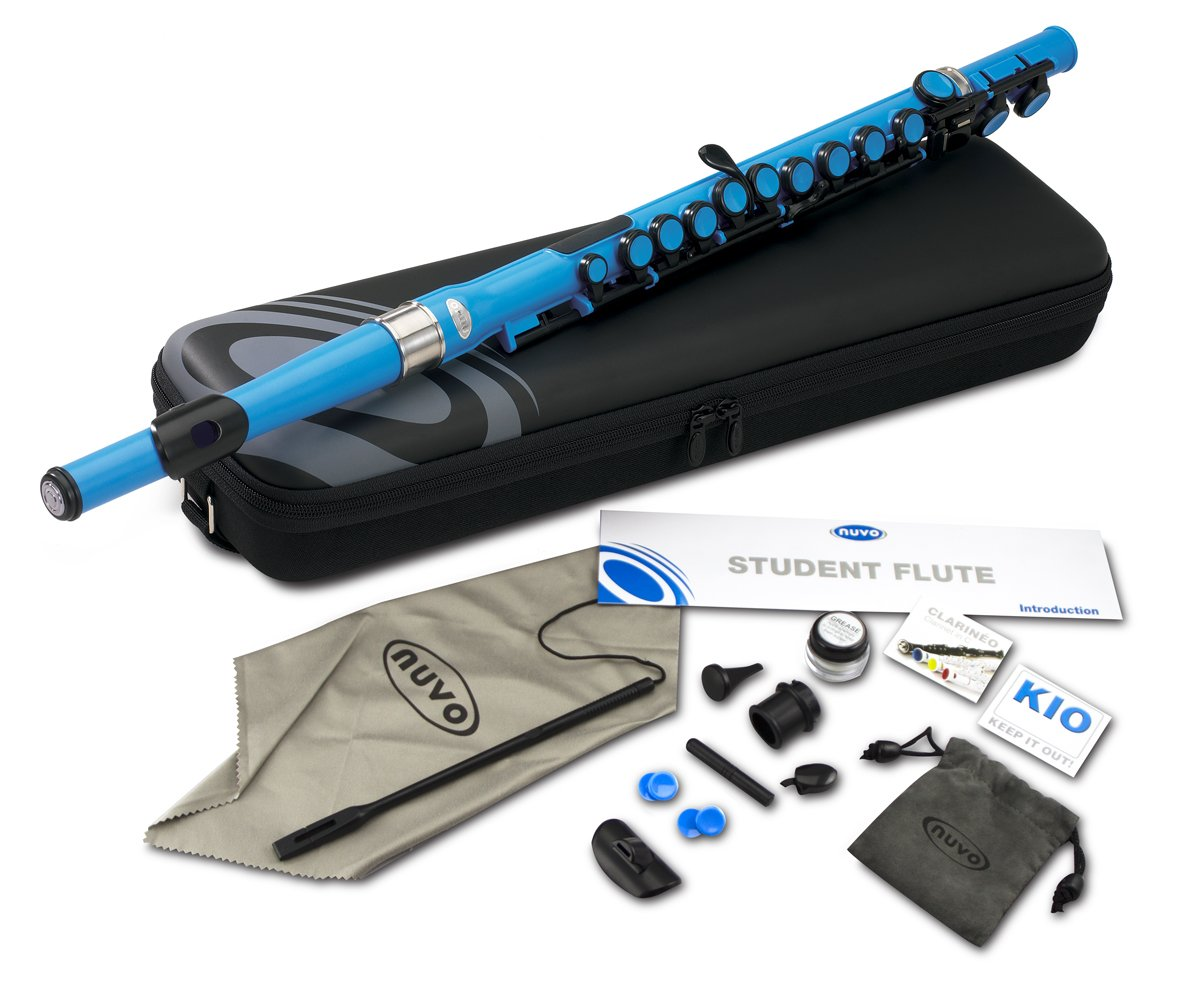 Nuvo SE200FBL Student Flute Kit with Straight Head, C, Foot, Case & Accessories , Special Edition Electric Blue