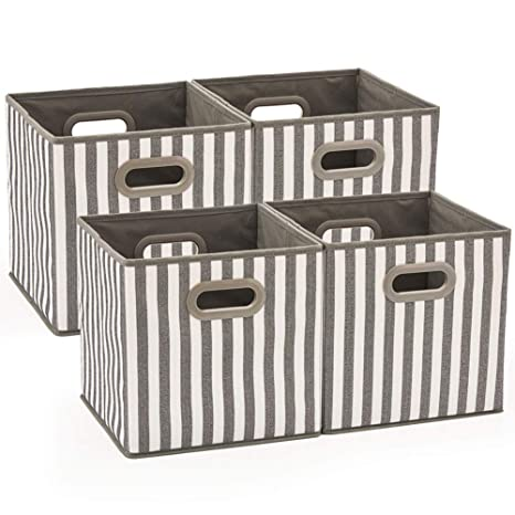 EZOWare 4 pcs Cajas de Almacenaje, Cubo Decorativa de Tela Plegable ...