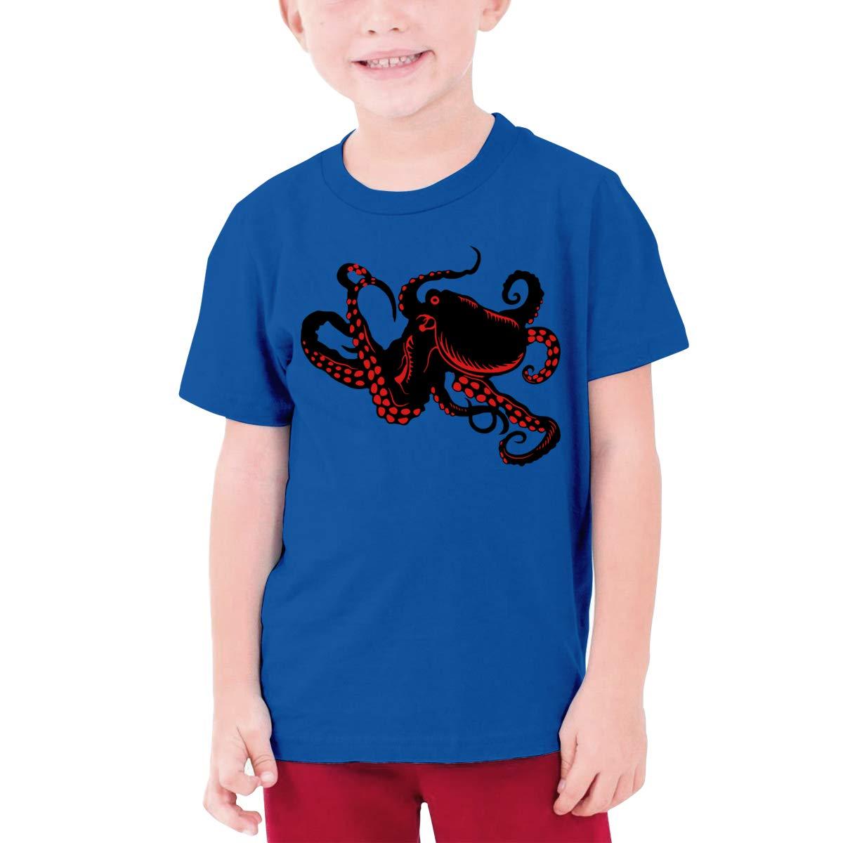Red Octopus Boys Short Sleeve T-Shirts