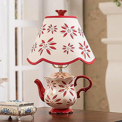 OOFWY E27 Cerámica Tetera Lámpara de mesa Estilo de estilo ...