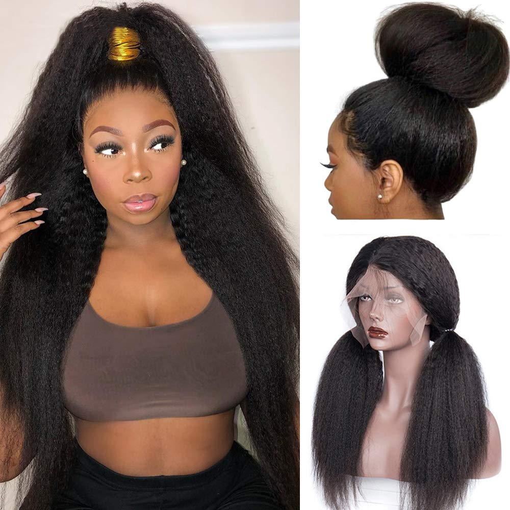 HC Hair Kinky Straight 360 Lace Frontal Wig Pre Plucked Italian Yaki Human Hair Wigs Brazilian 150% Density Remy Lace Front Human Hair Wigs for Women (24inch, 360 KS)